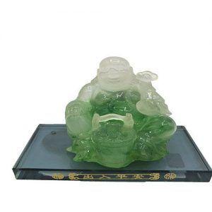 Buda Happy Jade verde sentado