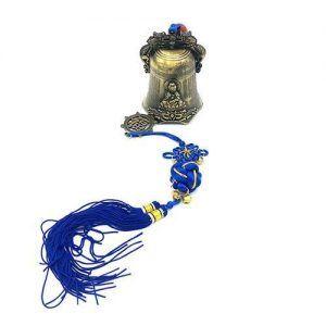 Campana colgante Buda cordón azul