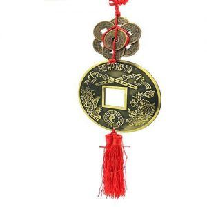 Amuleto Feng Shui Moneda Grande y 7 Pequeñas