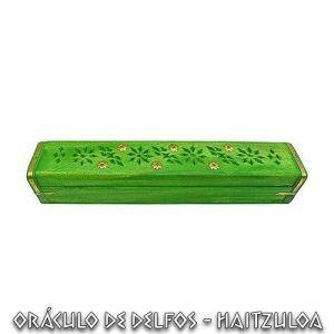 Incensario caja madera verde