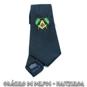 Corbata negra acacia verde bordada